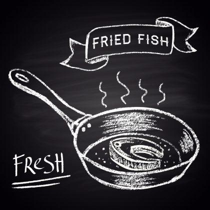 Visgeur in een pan